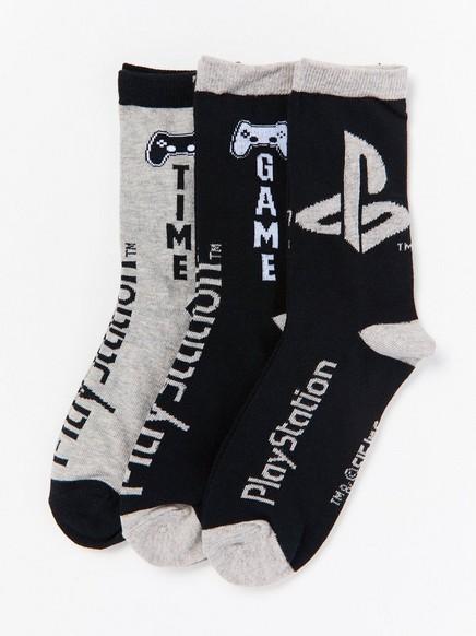 Playstation-kuvioidut sukat, 3 paria Musta