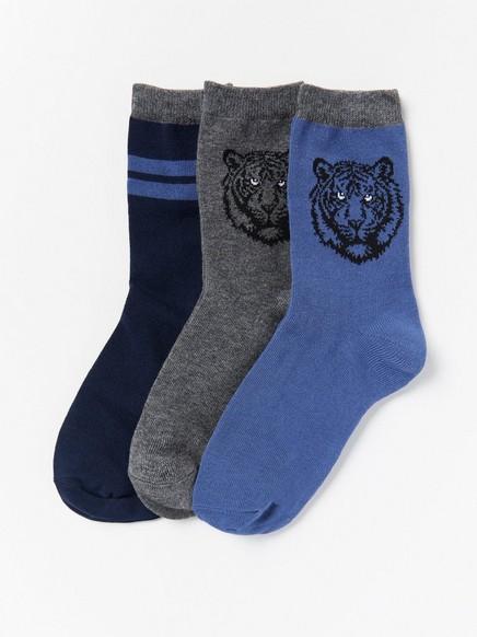 3-pakning med sokker med løver Blå