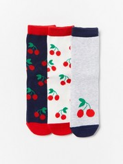 3-pack Cherry Socks with Antislip Red