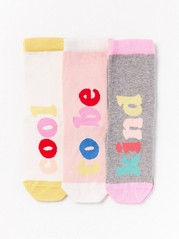 3-pack Socks with Text Motif Pink
