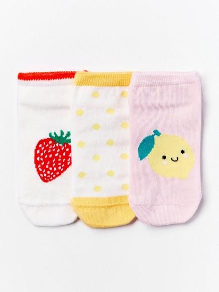 Hedelmillä kuvioidut varrettomat sukat, 3 paria Vaaleanpunainen