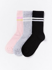 3-pack Ribbed Socks Grey