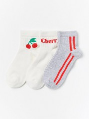 3-pack Socks with Red Details White