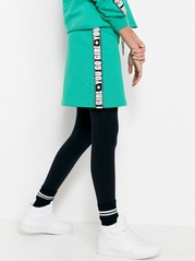 Green Skirt with Side Stripes Green
