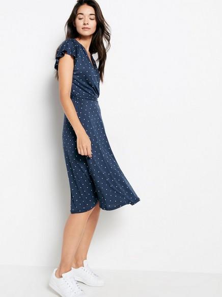 Patterned Dress in Tencel® Blend Blue