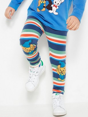 Leggings with Bamse Print and Brushed Inside Blue