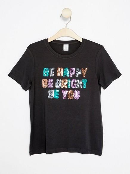 T-paita, jossa kimaltavia koristeita Musta