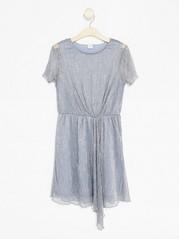 Pleated Glittery Dress Metal