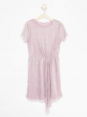 Pleated Glittery Dress Pink