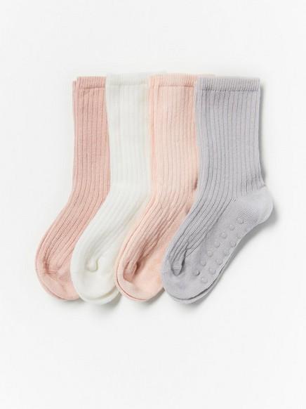 4-pakning med ribbestrikkede sokker med antiskli Rosa