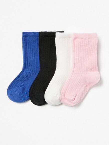 4-pakning med ribbestrikkede sokker med antiskli Blå
