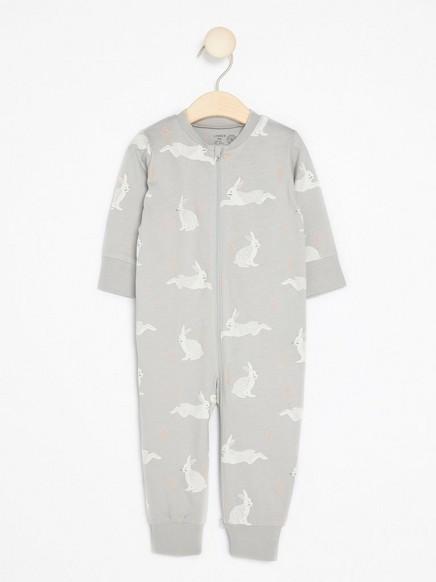 Pyjamas med kaniner Grå