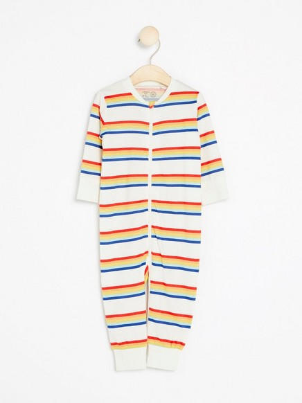 Flerstripet pyjamas Hvit
