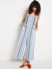 Striped Cotton Blend Jumpsuit  Blue