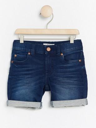 Regular jersey jeansshorts Blå