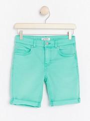 Narrow Turquoise Denim Shorts Turquoise