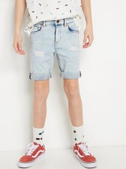 Narrow Denim Shorts in Light Blue Blue