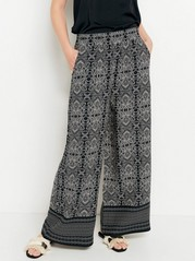 Wide Paisley Patterned Trousers  Black