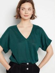 V-neck Linen Top  Green
