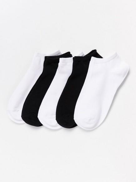 Sada pěti párů kotníkových ponožek Černá