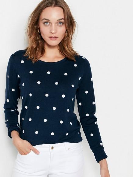 Finstrikket genser med prikker Blå