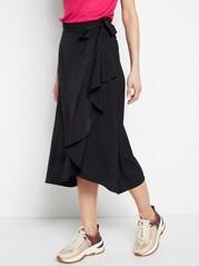 Flounce Wrap Skirt  Black