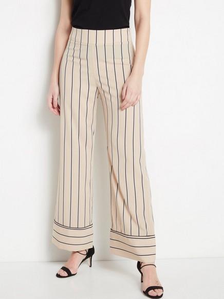 LYKKE stripet, vid bukse Beige