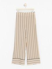 LYKKE Striped Wide Trousers  Beige