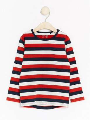 Striped Long Sleeve Top Red