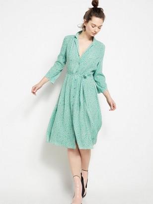 Vzorované šaty zviskózy Zelená