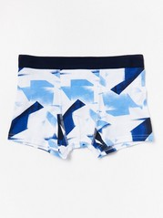 Boxer Shorts with Abstract Pattern Blue