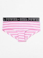 Striped Briefs with Text Pink