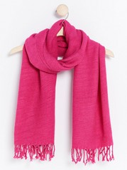 Pleated Scarf with Fringes  Pink