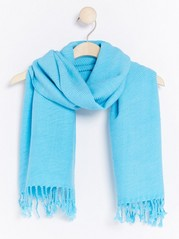 Pleated Scarf with Fringes  Blue