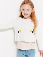 Knitted Cardigan with Flower Details White