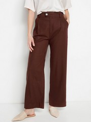 Brown Linen Blend Trousers  Brown