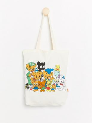 Tote Bag with Bamse Print White