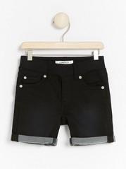 Narrow jersey denim shorts Black