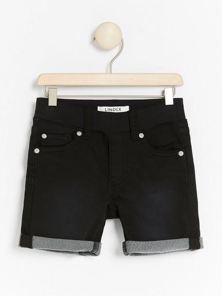 Smal shorts i denimjersey Svart
