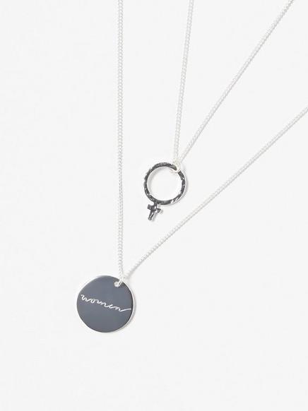 2-pakning med sølvfargede halskjeder Metall