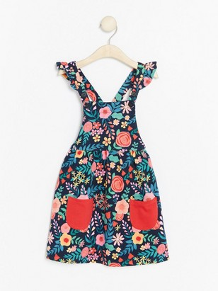 Floral Dungare Dress Blue