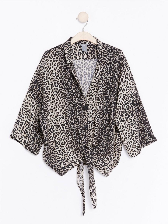 Leopardmönstrad blus med knytband  Svart