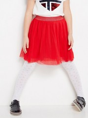 Pleated Tulle Skirt  Red