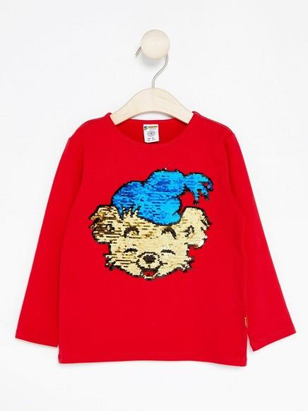 Bamse-pusero, jossa on käännettävät paljetit Punainen