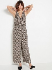 Patterned Viscose Jumpsuit  Beige