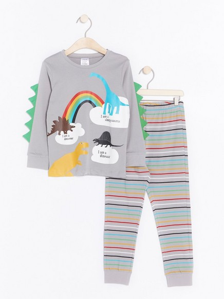 Pyjamassett med dinosaur Grå