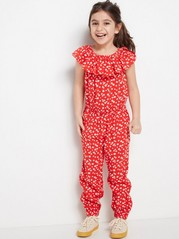 Red Floral Jumpsuit  Red