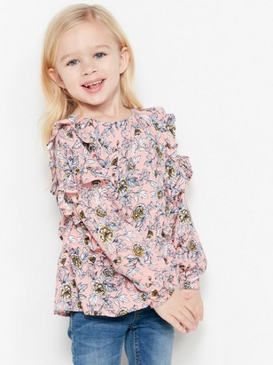 Blomstrete volangbluse Rosa