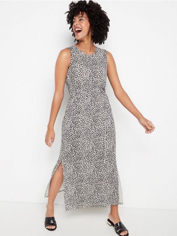 Ermeløs kjole i lyocellblanding Beige