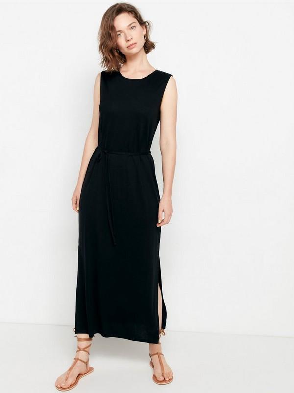 Ermeløs kjole i lyocellblanding Svart